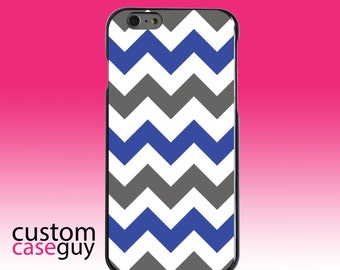 Hard Snap-On Case for Apple 5 5S SE 6 6S 7 Plus - CUSTOM Monogram - Any Colors - Blue Grey Chevron Stripes