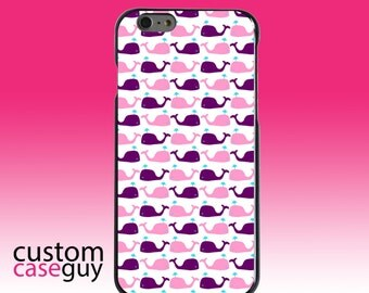 Hard Snap-On Case for Apple 5 5S SE 6 6S 7 Plus - CUSTOM Monogram - Any Colors - Purple Pink Cartoon Whales