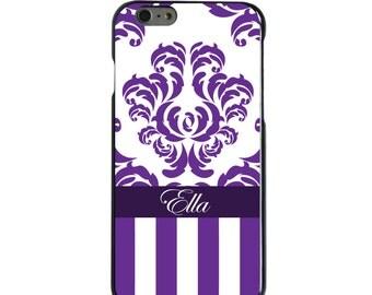 Hard Snap-On Case for Apple 5 5S SE 6 6S 7 Plus - CUSTOM Monogram - Any Colors - Purple White Damask Stripes