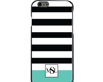Hard Snap-On Case for Apple 5 5S SE 6 6S 7 Plus - CUSTOM Monogram - Any Colors - Black White Teal Stripes Initials