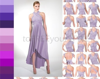 HIGH-LOW infinity dress in PURPLES, Free-Style Dress, infinity wrap dress, convertible dress, high-low bridesmaid dress, formal, bridal gown