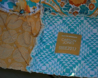 Graduation Gift - Gift for Grad - Gift For Graduate - Personalized Gift for Graduate - Personalized Quilt - Rag Quilt - Handmade Gift