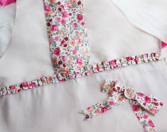 Adult Pink Floral Ruffle Linen Apron with Wooden Button