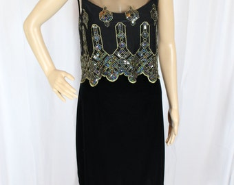 90's black and gold sequined dress