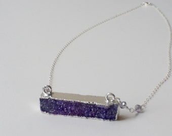 Druzy Bar Necklace, Purple Druzy Necklace, Silver Bar Necklace, Chunky Necklace, Silver Statement Necklace, Beaded Chain Necklace