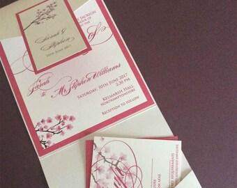 Cherry Blossom Pocketfold Wedding Invitation; Wedding Invite, Spring Wedding