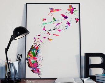 Watercolor art print, Feather print