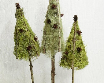 SALE!  Woodland Wedding Moss Topiary, Rustic Centerpiece Table Top Trees, Natural Home Decor Lichen Trees