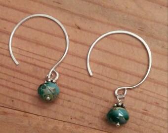 Sterling Hoop Earrings with Teal Bead, Hand Forged Circle Hoop Earrings with Teal Czech Beads