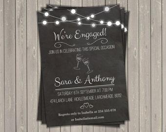 Chalkboard engagement invitation digital printable file, celebration invitation, digital invite, personalized custom invite, party printout