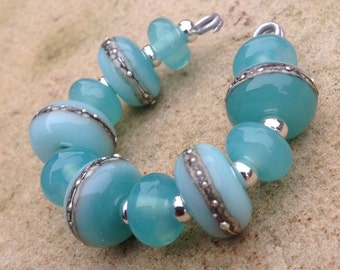 Aqua with Pure Silver Lampwork Glass Bead Set