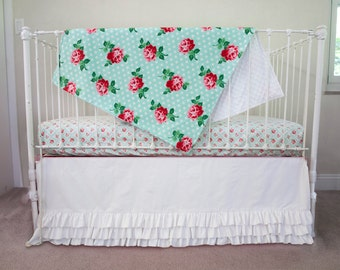 Lucy's Retro Mint Rose Floral Bumperless Baby Bedding Crib Set in Mint, Chinese Red, Pink, White