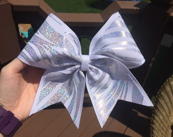 White and Silver Zebra Cheer Bow