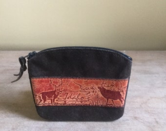 Vintage Tooled Leather Souvenir Idaho Coin Purse Walket