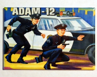 "Adam-12 Metal LUNCHBOX 2"" x 3"" Fridge Magnet Art Vintage Tv show"