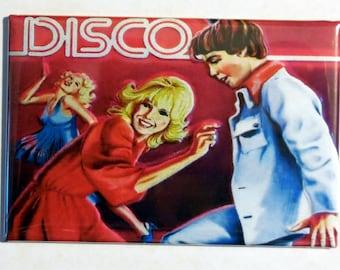 "DISCO Metal Lunchbox 2"" x 3"" Fridge Magnet Art Vintage"