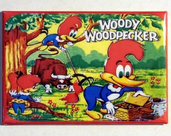 "WOODY WOODPECKER Metal Lunchbox 2"" x 3"" Fridge Magnet Art Vintage TV Show"