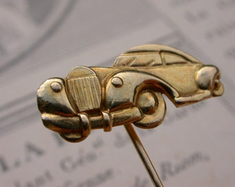 French antique  art nouveau 18k yellow  solid gold  old car pin yellow  solid gold antique brooch  tie pin eagle head stamp