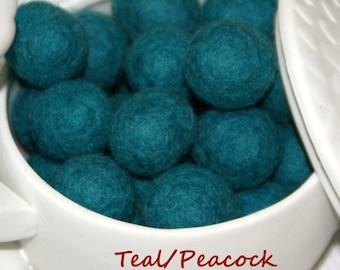 Felt Balls, Felt Beads, Pom Poms, Wool Beads , Color TEAL , Size 1.0 cm, 1.5 cm, 2.0 cm, 2.5 cm, 3.0 cm, 4.0 cm