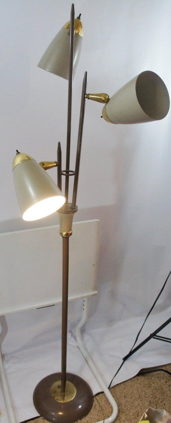 Vintage Mid Century Modern Floor Lamp Pole With 3 Adjustable