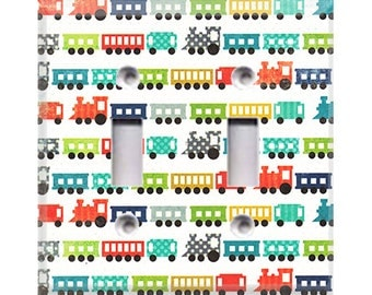 Trains Double Light Switch Cover