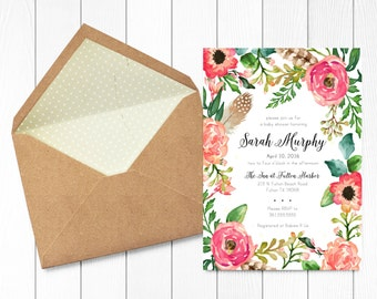 SHOWER INVITATION - Custom Bridal or Baby Shower Invitation PRINTABLE Watercolor Floral