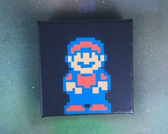 "NES Super Mario Bros. 2 MARIO Spray Painting on 4""x4"" Stretched Canvas"