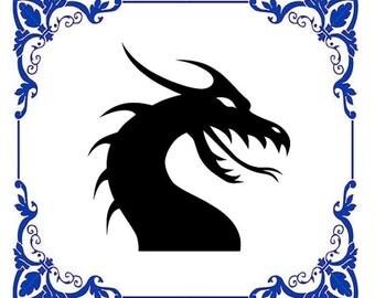 Dragon Silhouette Cross Stitch Pattern Aida Cloth 14 ct.