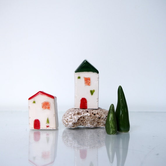 Ceramic tiny homes red and green little by vitezartglassdesign - The tiny house village a miniature settlement ...