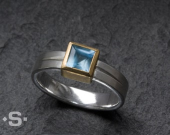 Ring with Aquamarine set in a gold 900 bezel. Handmade jewelry. Unique Engagement ring.