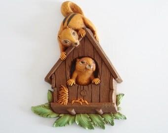 Chipmunk Squirrel House Wall Plaque Dart Ind. Vintage Homco USA