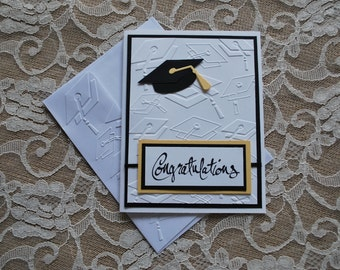 Handmade Greeting Card: Graduation card, black and white, congratulations