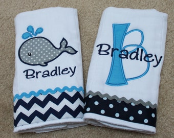 Personalized Burp Cloth Set - Whale Burp Cloth - Monogram Burp Cloth - Burp Cloth Set for Boys - Gift Set for Boys - Shower Gift