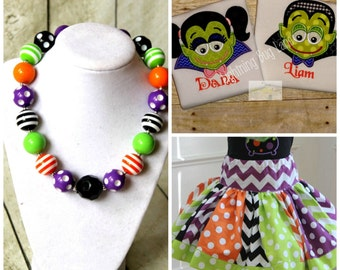 Sibling Halloween outfits Matching Brother and Sister Halloween outfit Sibling Halloween shirts with matching skirt Brother and sister set