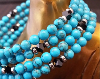 Turquoise Magnesite Bead and Swavorski Black Crystal Memory Wire Bracelet.