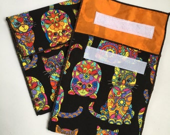 Reusable Eco Cat Print Snack Bag
