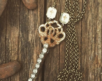Vintage key necklace - vintage rhinestones