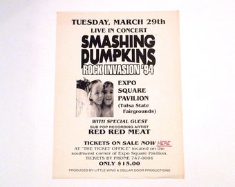 Smashing Pumpkins Band Poster 1994 Vintage Siamese Dream Concert Tour Expo Square Pavilion Tulsa Oklahoma Mohawk Music Billy Corgan D'Arcy