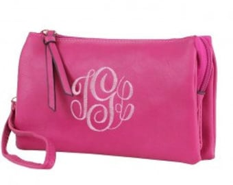 Tri-pocket cross-body clutch purse W/ Monogramming