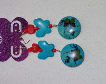turquoise and red butterfly earrings