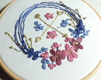 Hand Embroidery Pattern, Floral embroidery design, Floral hand embroidery chart