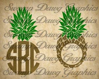 Pineapple svg, pineapple monogram svg, pineapple monogram cut file, silhouette, cricut, decal, vinyl, digital file, monogram file, cut file