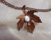 Moonstone Maple Leaf Vintage Copper Pendant Custom Request OOAK Upcycled Recycle Repurposed Eco