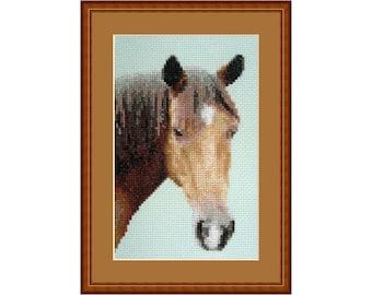 Cross stitch kit Let's Ride, brown, horse, farm, horses