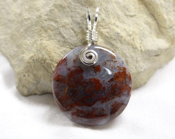 Moss Agate Groove Wire Wrapped Pendant