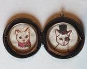 Embroidered Cat Portraits in Round Metal Locket