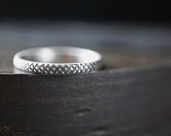 Sterling Stacking Ring , Size 9 , Industrial Patterned Band , Rustic Textured Band
