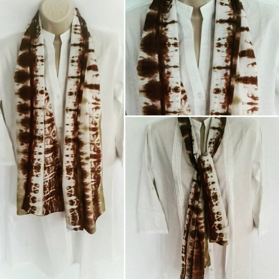 Hand Dyed Tie Dye Scarf in Dutch Chocolate & Ecru/Womens Tie Dye/Eco-Friendly Dying
