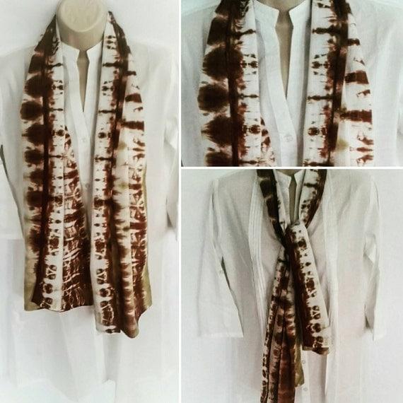 Hand Dyed Tie Dye Scarf in Dutch Chocolate & Ecru/Womens Tie Dye/Eco-Friendly Dying