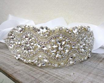 Rhinestone sash, pearl crystal sash, bridal sash, bridal belt, sash belt, wedding dress belt, great gatsby wedding, wedding belt, dress sash